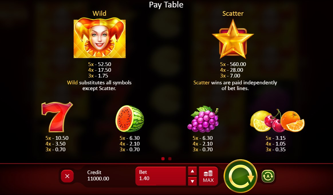 Play without registration Fruits and Jokers 40 lines