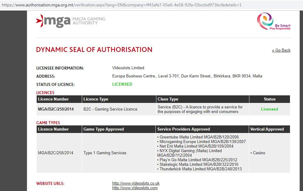 MGA casino license